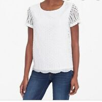 J.Crew Blouse Womens Size 6 White Lace Overlay Lined Short Sleeve Top Shirt