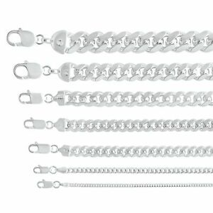 """.925 Sterling Silver Miami Cuban Link Chain Necklace Pendant  2mm-13mm Sz 7""""-30"""""""