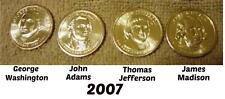 2007 P PRESIDENTIAL DOLLARS COINS   PHILADELPHIA   ALL 4 PRESIDENTS