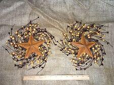 "DLCC~Set of 2 deep burg/ tan PIP BERRY SWAG with 5"" barn star  rust metal"