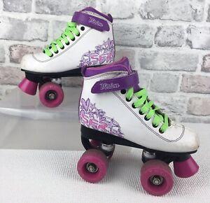 SFR Vision Quad Roller skates White, purple, pink  UK Size 1J EU 33 Well Used