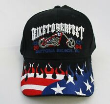 Biker Dad Hat VTG Biketoberfest Daytona Beach 2004 Patriotic Stars Stripes USA