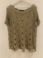 GOLD CROCHET SEQUIN TOP XL OR 16 IBIZA GLAM CLUB HOLIDAY SUMMER PARTY PRETTY