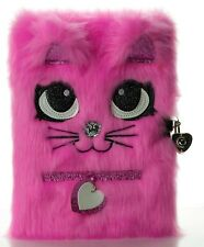 Busy Kid Plush Diary with Lock for Girls Glitter Kitty Notebook for Kids Bright