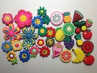 5 RANDOM Mixed Lot Pack Shoe Charms For Kids And Teens - Flowers And Fruits