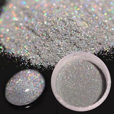 7g Holographic Laser Glitter Powder Nail Art Tips Shiny Holo Ultra-thin Silver