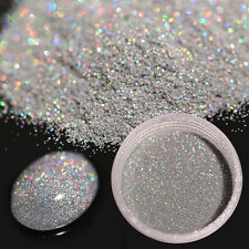 7g Holographic Laser Glitter Puder Sand Nagel Schimmer Ultra-thin Silber Neu