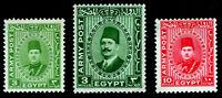 Egypt - Sc #M12, M14 & M15 - Military Mail - Faud & Farouk - 1936-39 - MNH/MVLH