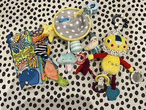 Newborn Baby Clip on Pram Pushchair Sensory Toys & Book. Jellycat & Mamas Papas
