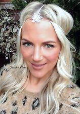 Silver triple 3 rangée strand fleur diamant cheveux tête bande Choochie bohème boho