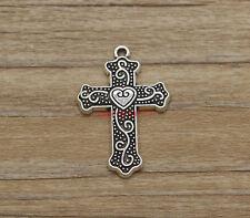 15pcs Cross Pendants Charms Religious Charms Antique Silver Tone 22x34mm 1402