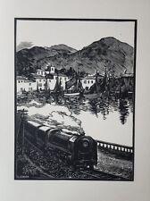 """Gravure sur bois de R.ENARD, """"Train à vapeur longeant le port"""", XXème"""