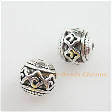 8Pcs Tibetan Silver Tone Flower Round Ball Spacer Beads Charms 8mm