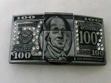 100 Dollar Bill Shaped Men's Windproof Lighter Holder Belt Buckle
