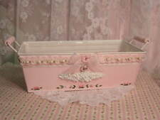 shabby cottage hand painted pink roses tin handled pail..bucket.storage w/liner