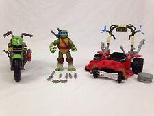 Teenage Mutant Ninja Turtles Action Figure Lot Leonardo Motorcycle Grass Kicker