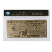 10 Dollar 999.9 Gold Foil Gold Banknote Decorative US Bill Note with COA Frame