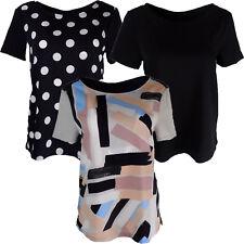 Ex M&S Short Sleeve Blouse Top Black Navy Spot Multi Colour