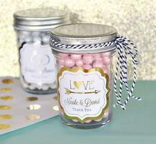 96 Personalized Metallic Foil Wedding Theme Mini Mason Jars Wedding Favors