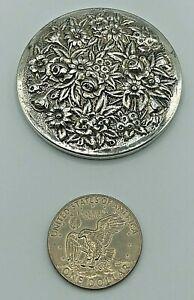 Vintage Stieff Kirk Repoussé Floral Sterling Silver Dresser Purse Mirror 58.7g