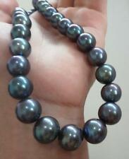 "HUGE 18""13-16mm south sea genuine gray blue perfect round pearl necklace"