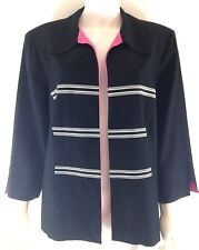 Jessica Howard Woman VTG Plus Size 16 Blazer B/W Pink Linen Blend Open Career