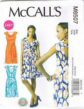 Easy Fitted Cowl Neck Tuck Overlay Dress McCalls Sewing Pattern 6 8 10 12 14