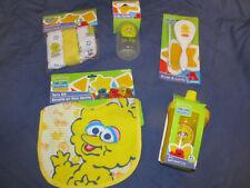 New Sesame Street Big Bird Baby Care Lot 8p Bib Brush Cup Bottle Washcloths Gift