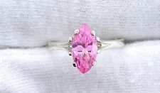 Pink Marquise CZ Cubic Zirconia Gemstone Gem Stone Sterling Silver Ring Size 7