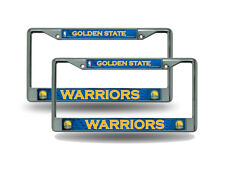 Golden State Warriors NBA Chrome Metal (2) License Plate Frame Set