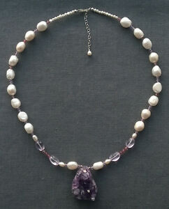 """AMETHYST DRUZY NECKLACE  17.5"""" 19"""" 925 PEARL STERLING SILVER"""