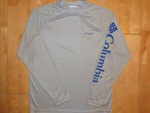 COLUMBIA PFG Mens TERMINAL TACKLE Gray OMNI-SHADE Medium M MD Long Sleeve Shirt