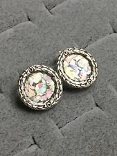ARTISAN STERLING SILVER ROUND IRIDESCENT POST EARRINGS