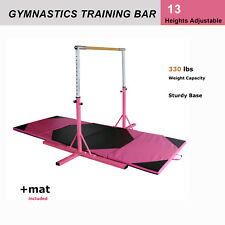 Height Adjustable Gymnastics Junior Training Horizontal Bar W/Gym Mat Pink