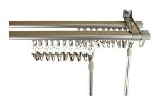 Double Track Curtain Drapery Rod Hardware Track Set Adjustable 66 - 120 Silver
