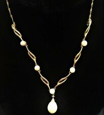 "10k Yellow Gold Cultured Pearl Drop Diamond Pendant Lavalier 17"" Necklace Bridal"