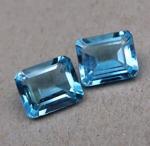 Topaze bleue - taille émeraude - 2pcs - 13.80Cts - 12-12.1*10mm - sertissage
