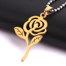 """316L Stainless Steel Pendant1.02X1.70 Inch Rose Flower Gold Necklace 22"""" B26"""