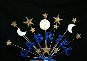 Personalised NAME, AGE  STAR AND MOON BIRTHDAY , CHRISTENING CAKE TOPPER custom