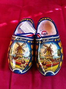 Dutch Wooden Clogs   Blue Tulip size 25-26 = 16cm many sizes available