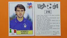ALBUM FIGURINE CALCIATORI PANINI USA 94 WORLD CUP ITALIA ROBERTO MANCINI N 316