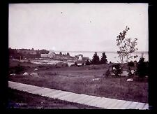 Coastal Maine Island ? Wharf Harbor Buildings on Stilts 1890s Glass Negative 5x7