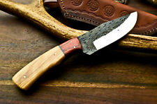 Custom Hand made Carbon Steel Skinning Blade Full Tang Knife | Olive Wood |