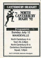 North Canterbury V Ciudad-B equipo V Canterbury desarrollo 12 Jul 1992 Rugby Pro