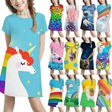 Kids Girls Short Sleeve T-Shirt Dress Holiday Dresses 3D Printed Long Tunic Tops