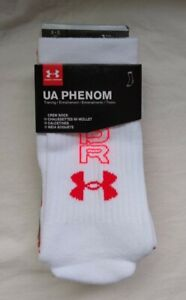 UNDER ARMOUR MEN'S 3 PK PHENOM WHITE AND RED CREW SOCKS, SHOE SIZE 8-12