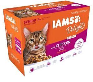Iams Delights Senior Wet Cat Food with Chicken in Gravy 24x85g