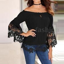 Women Boat Neck Off Shoulder Lace Crochet Bell Long Sleeve Tops Blouse Shirt Tee