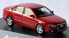 Audi A4 B7 Limousine 2004-08 in PC-Vitrine Display-Box rouge brillant rouge 1:87