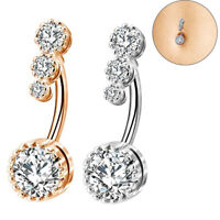 Crystal CZ Belly Button Bar Barbell Drop Dangle Body Piercing Navel Ring Bars-UK